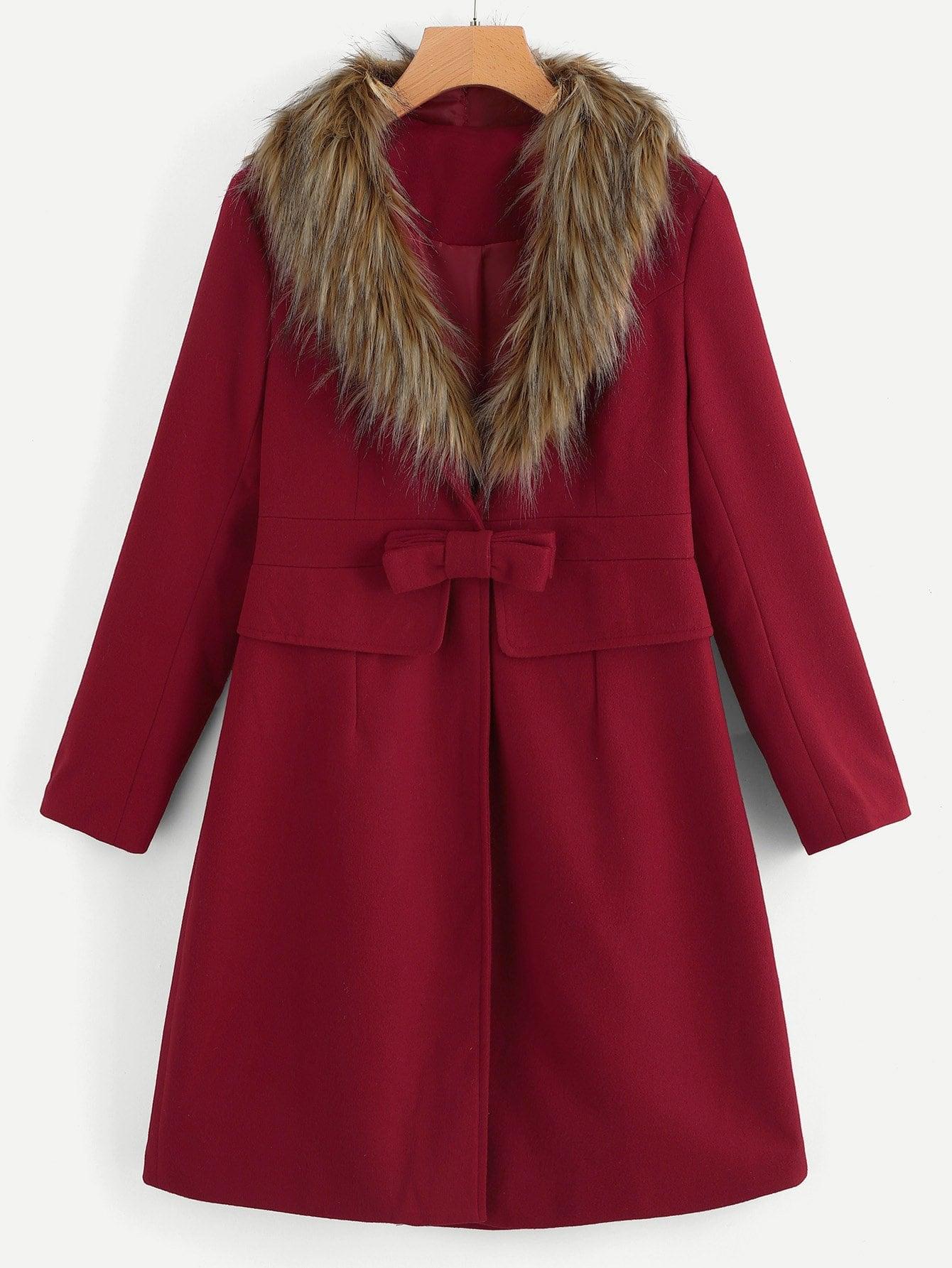 Купить Пальто с бантом из контрастных искусственных мехов, null, SheIn
