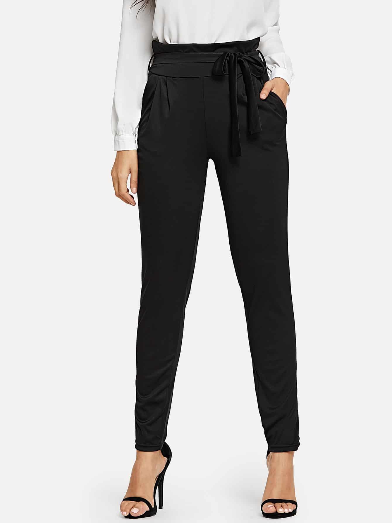 Купить Однотонные брюки с поясом, Jeane, SheIn
