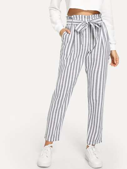 c8560f62b457b Vertical Striped Self Tie Paperbag Waist Pants   SHEIN
