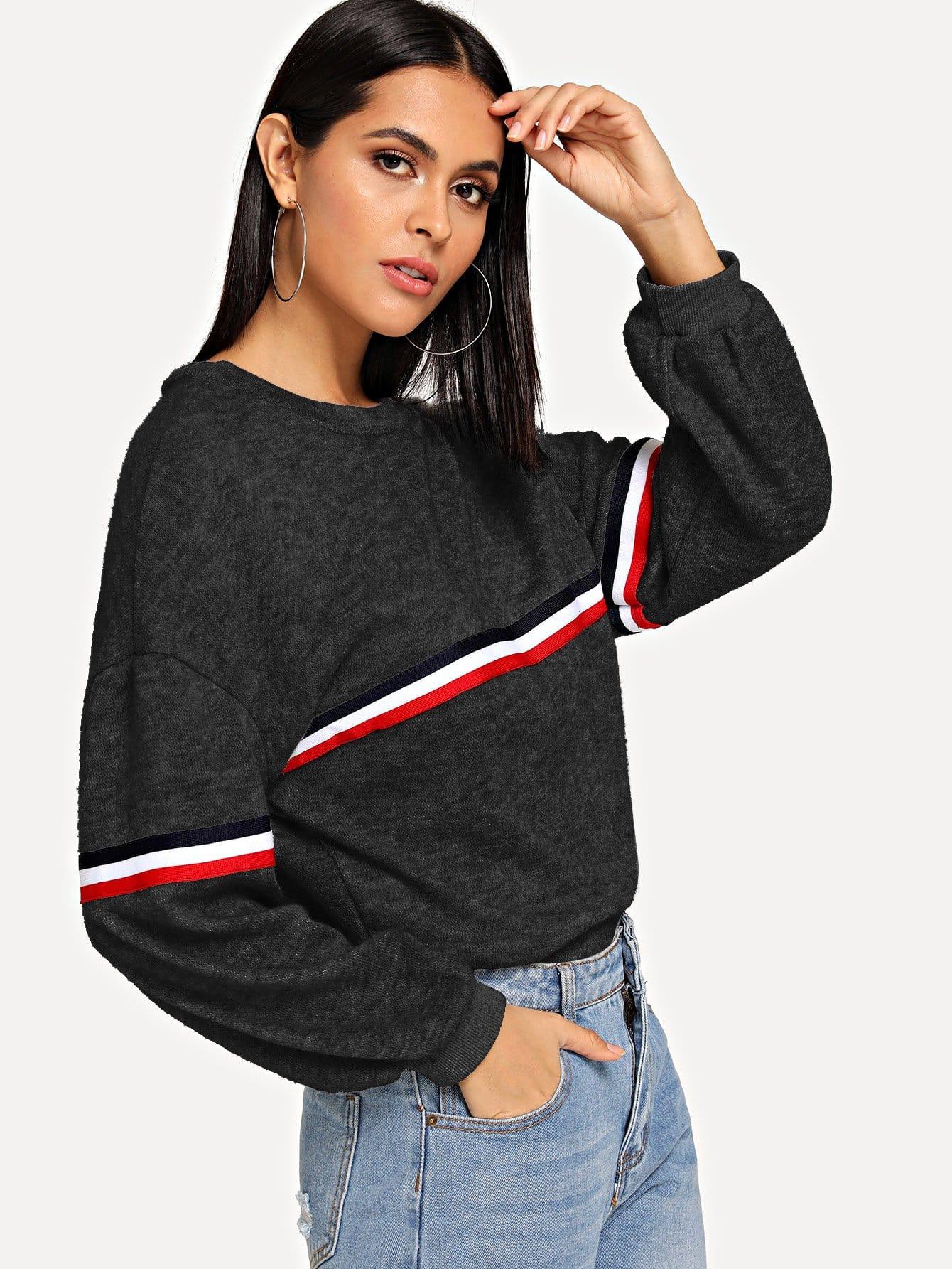 Контрастный свитер в полоску с заниженной линией плеч, Verob, SheIn  - купить со скидкой