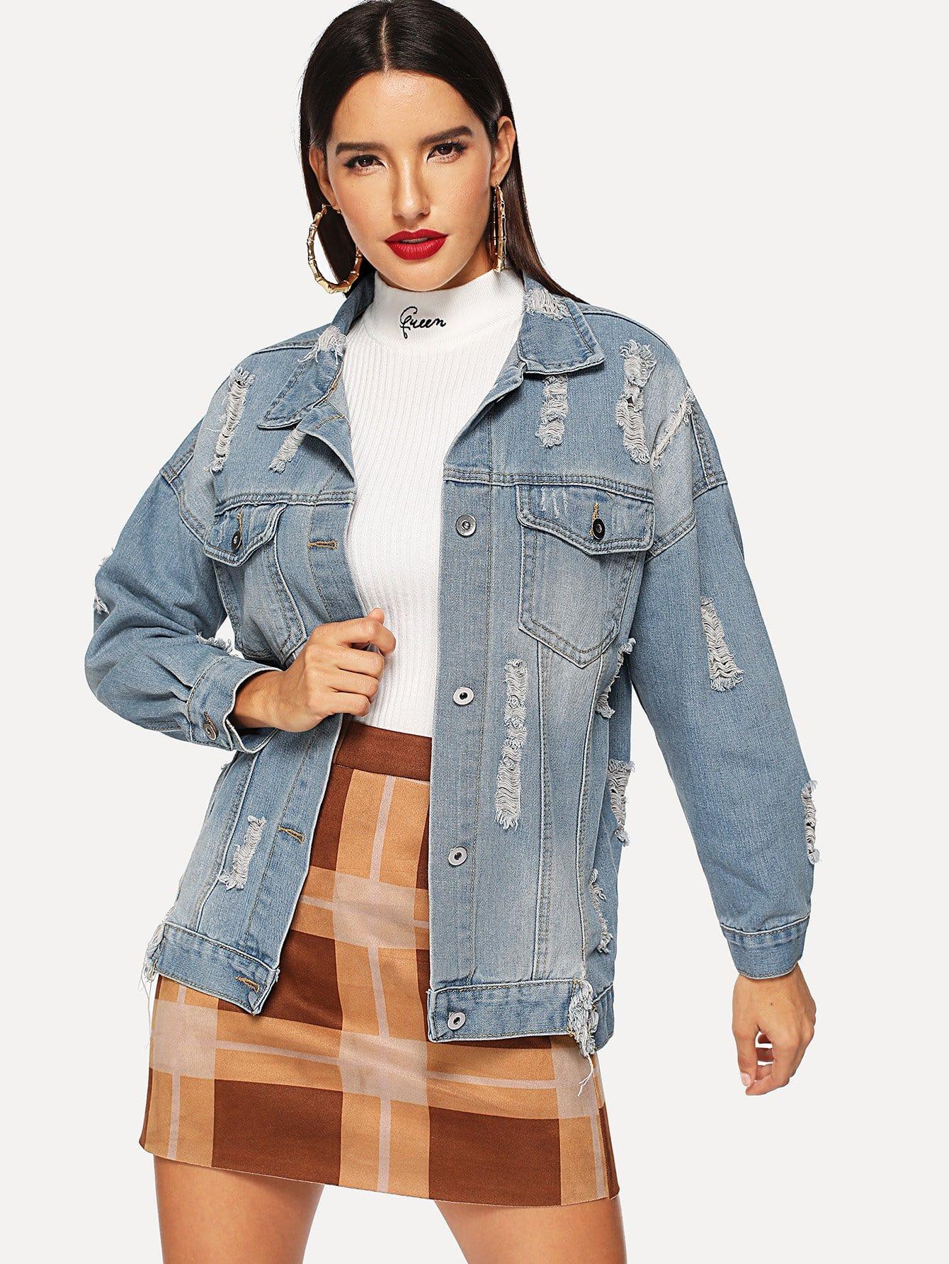 Купить Рваная джинсовая ветровка с заниженной линией плеч и текстовым принтом, Juliana, SheIn
