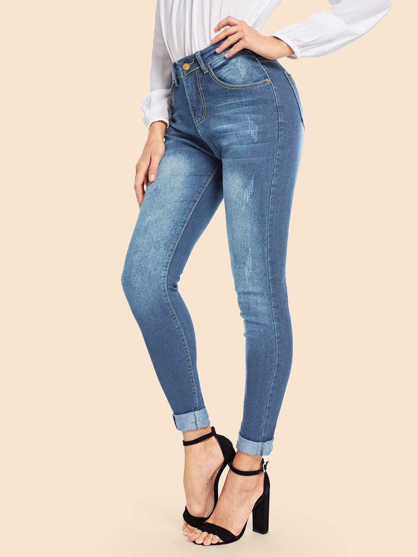 Купить Отбеленные обтягивающие джинсы, Masha, SheIn