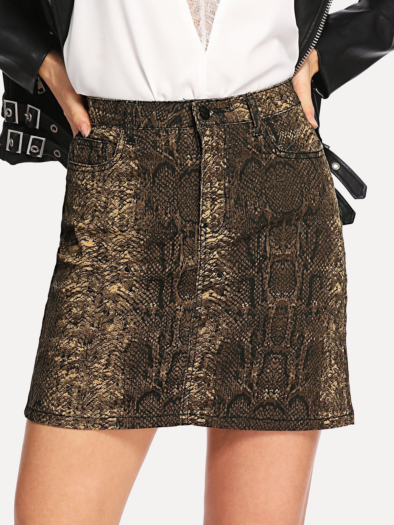 Джинсовая юбка с принтом змеиным SheIn