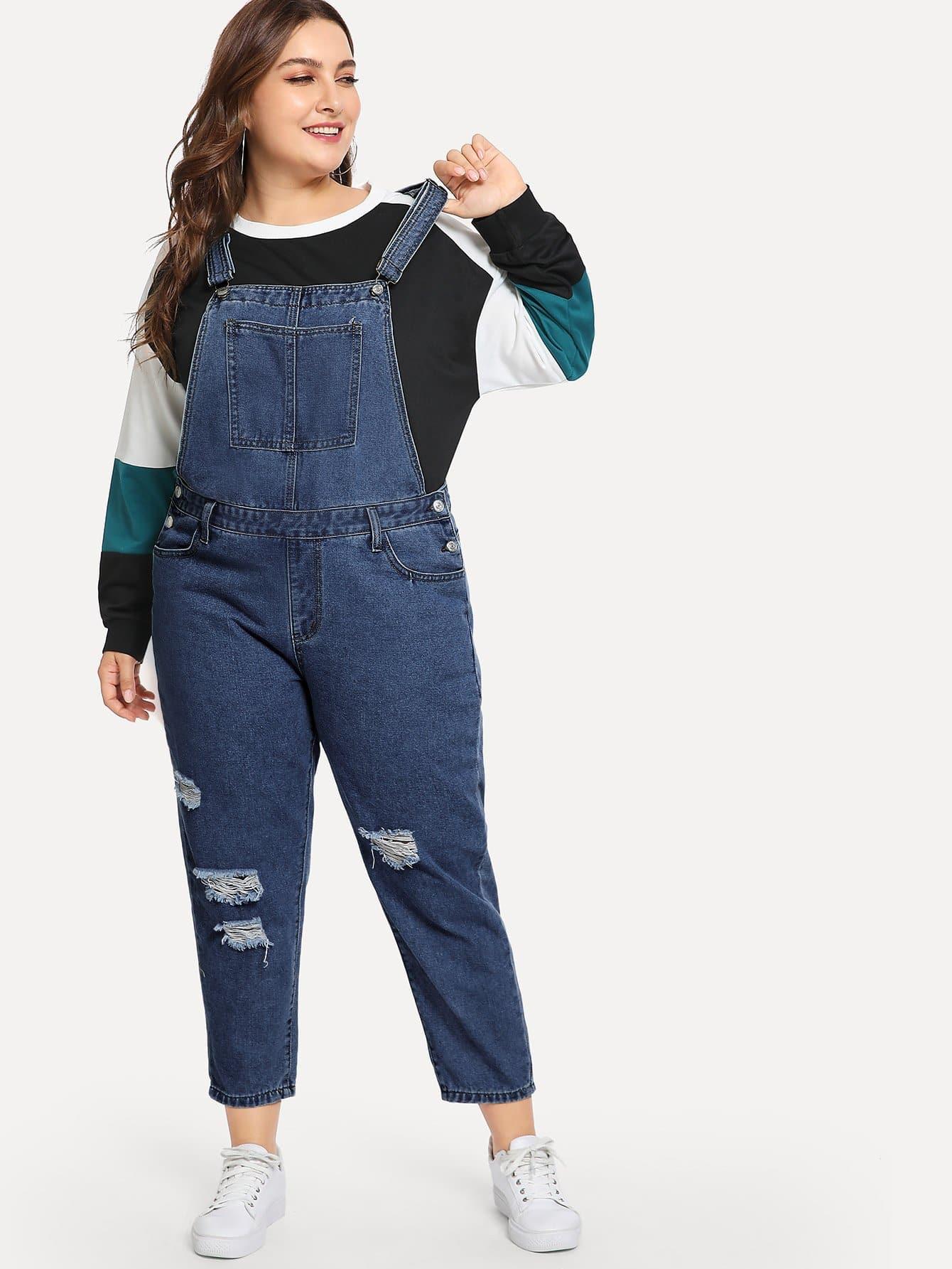 Купить Рваные джинсы комбинезон размера плюс, Franziska, SheIn