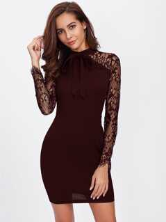 Tie Neck Floral Lace Sleeve Bodycon Dress