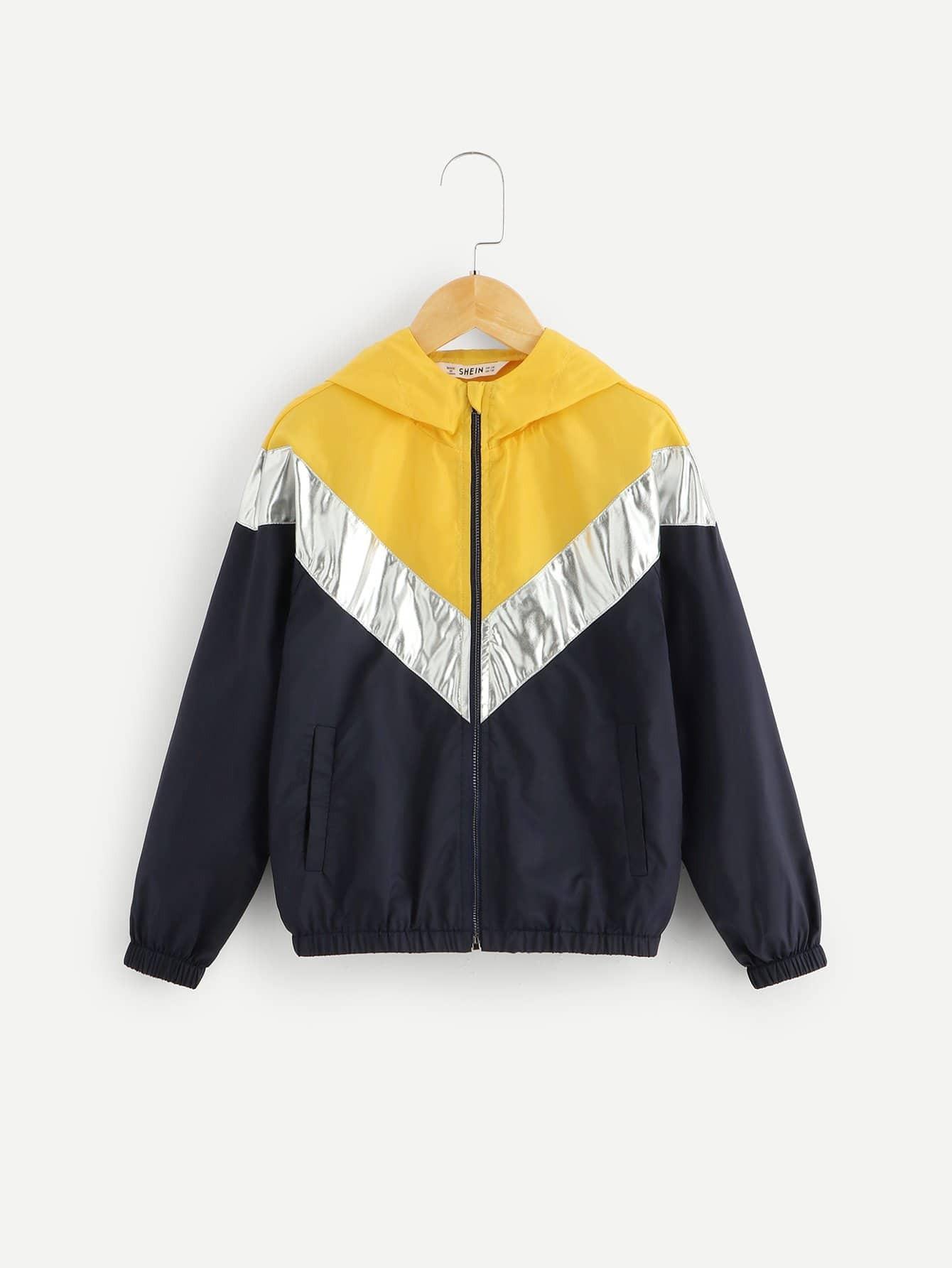 Купить Контрастная куртка с капюшоном на молнии для мужчин, null, SheIn