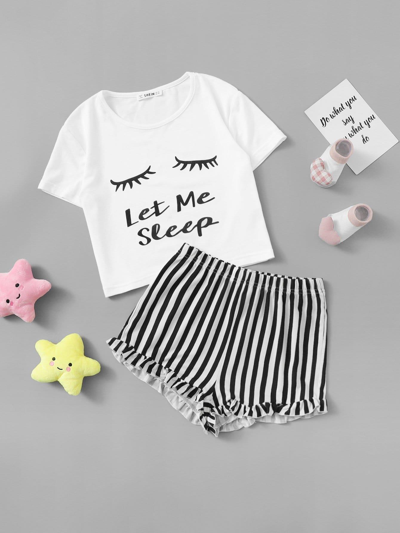 Футболка и полосатые шорты PJ комплект для девочек от SheIn