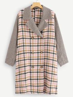Plus Notch Collar Double Breasted Placket Plaid Coat