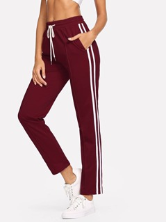 Striped Side Drawstring Waist Pants