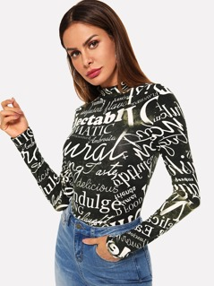 Allover Letter Print Mock Neck Fitted Tee