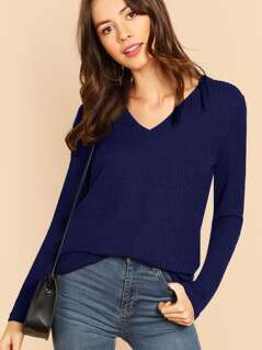 V-neck Rib Knit Solid Tee