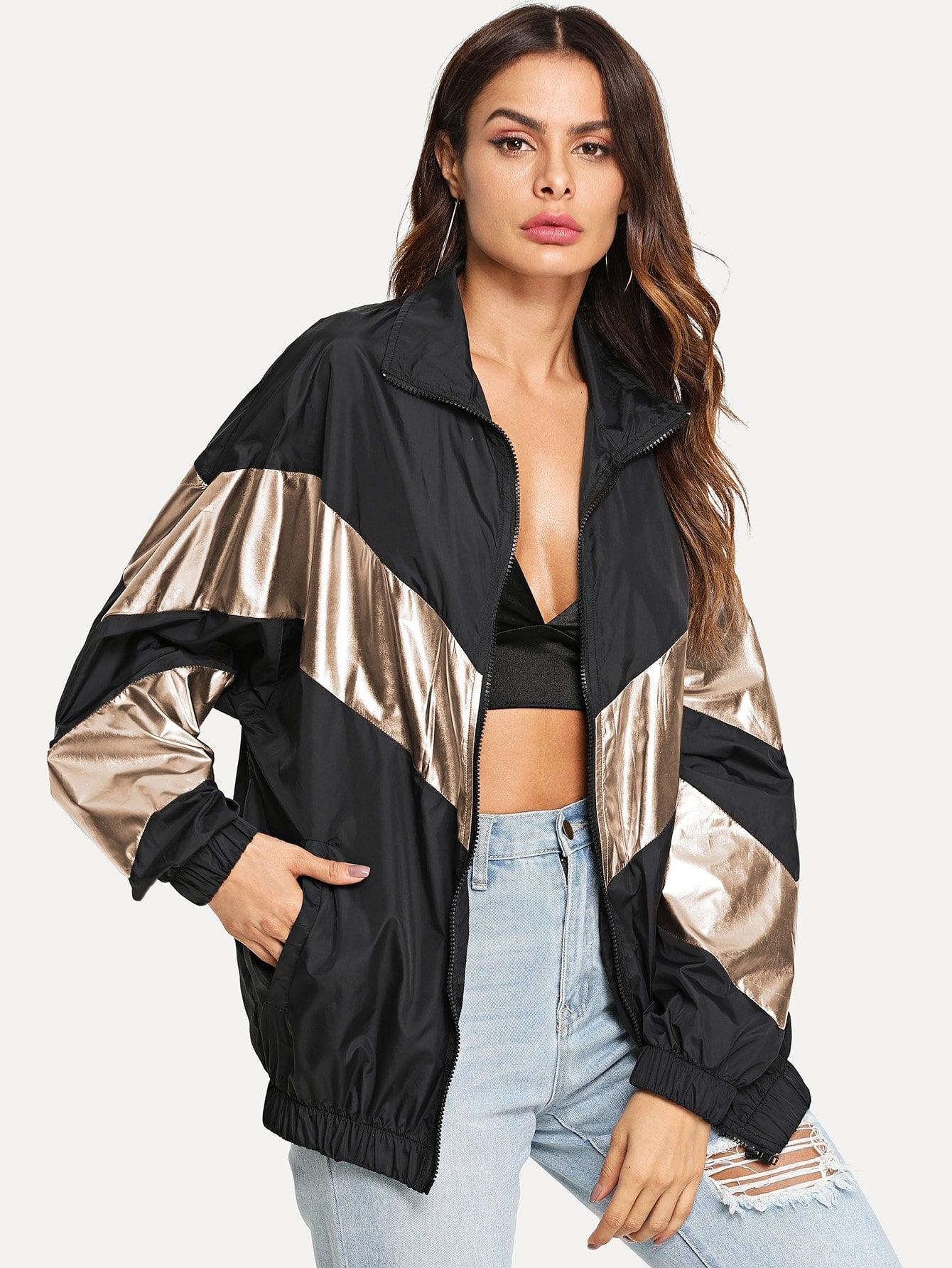 Купить Металлическаяцветная куртка ветровки с заниженной линией плеч, Andy, SheIn