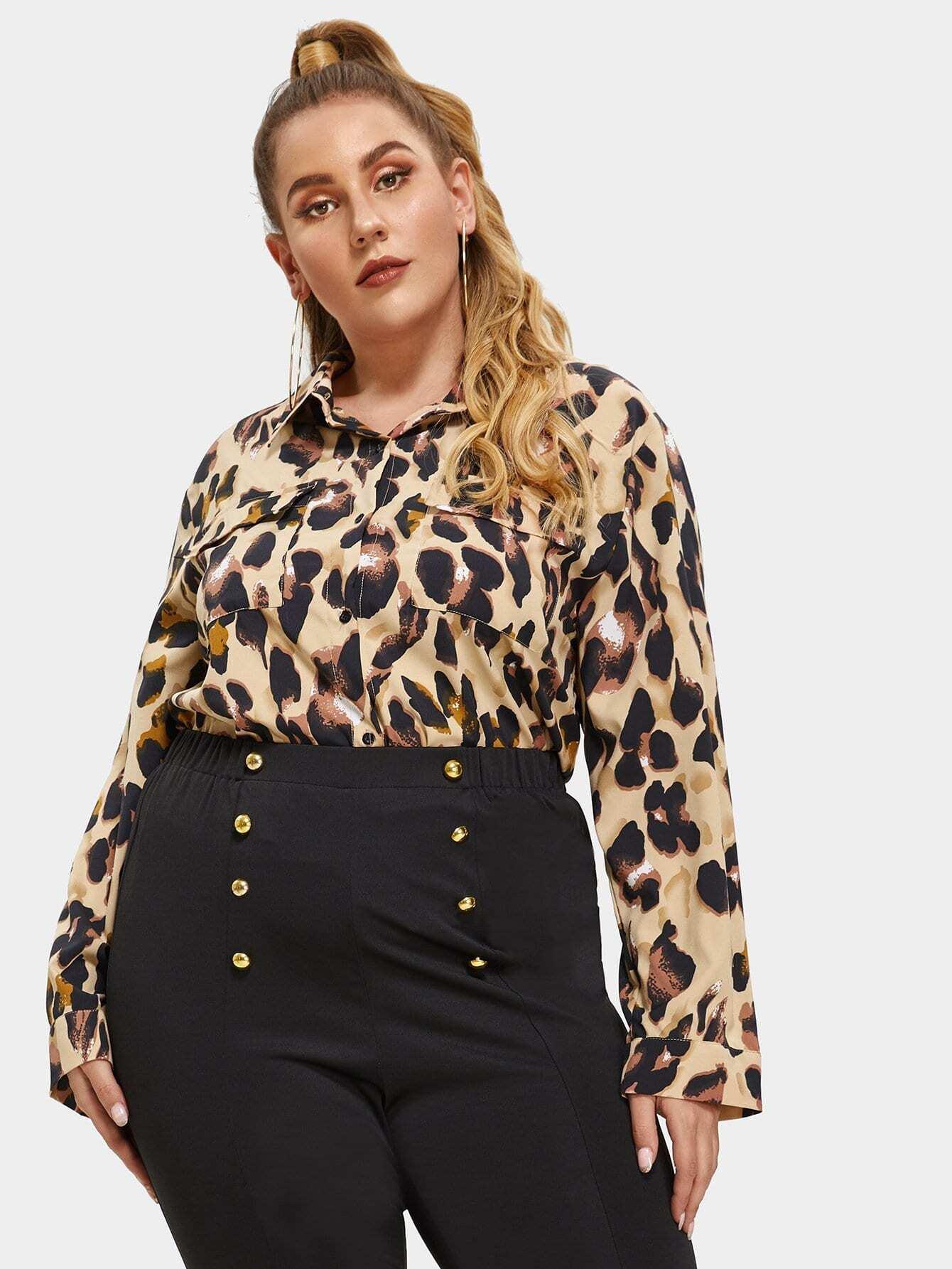 Фото - Плюс размера рубашка на пуговицах с карманом от SheIn цвет многихцветные