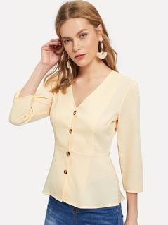 Button Up Peplum Blouse