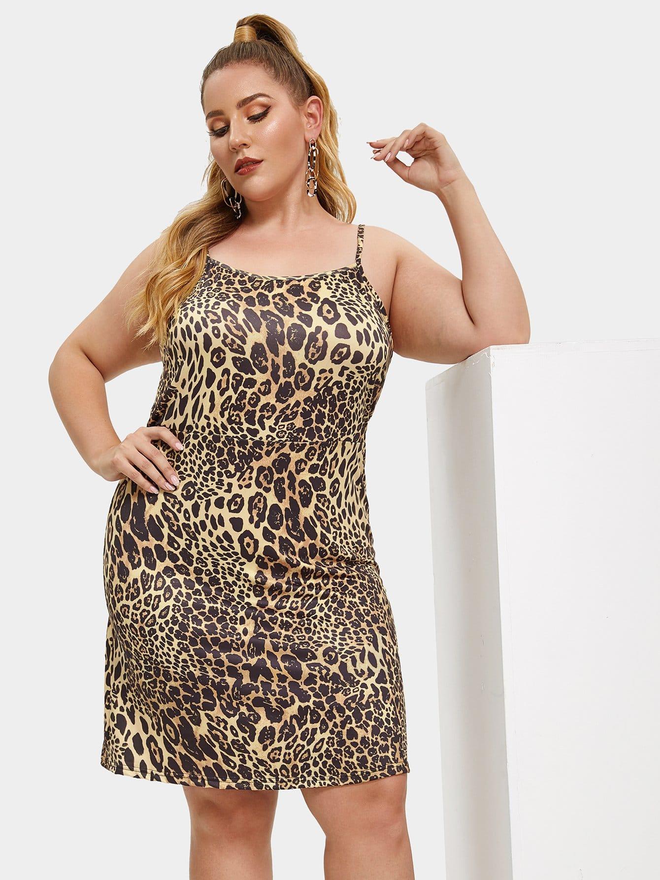 Купить Платье с принтом леопардового размера плюс, Mafe, SheIn
