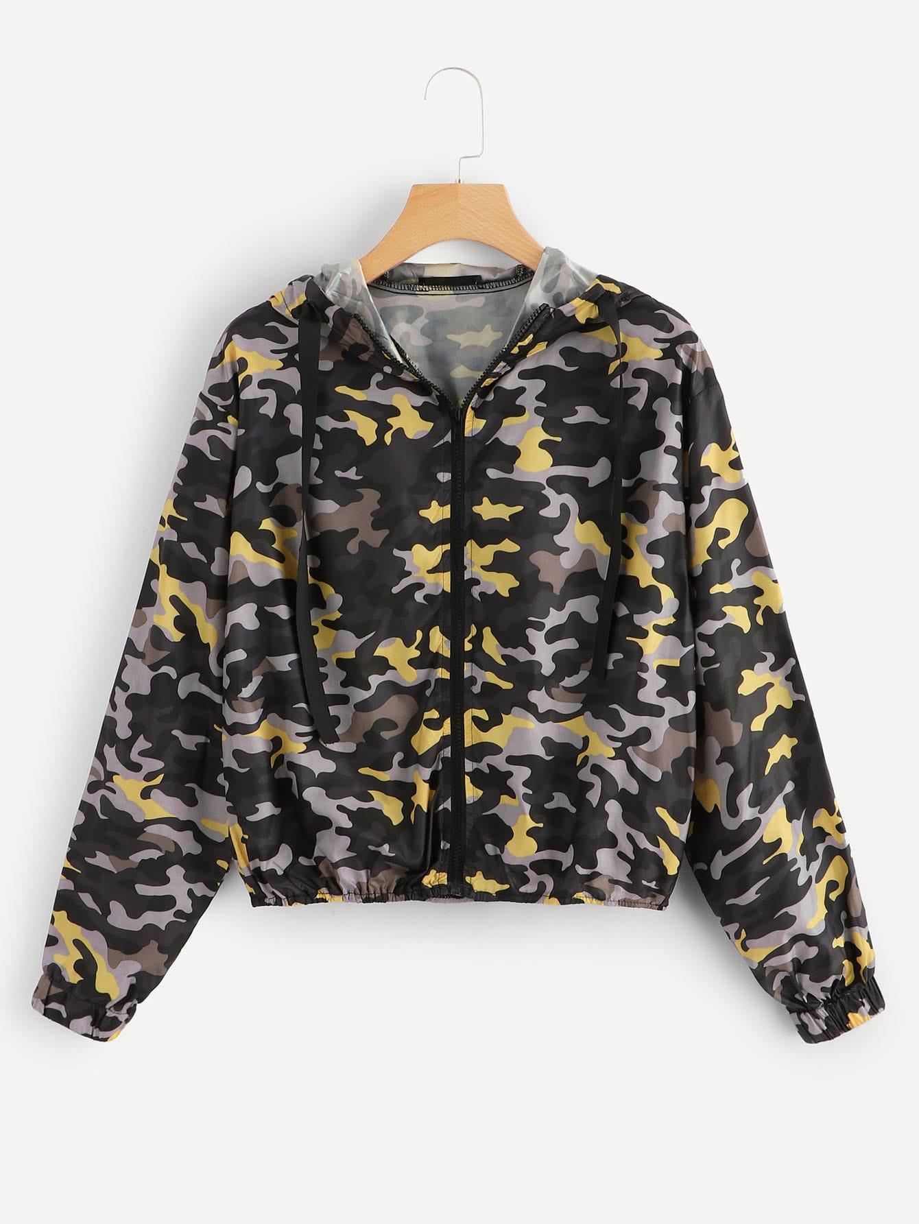 Фото - Камуфляжная куртка с капюшоном на молнии от SheIn цвет многоцветный