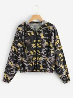 Camo Print Zipper Up Hoodie Jacket