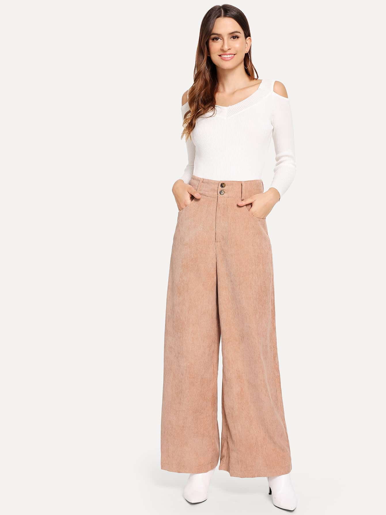 Фото - Широкие вельветовые брюки с карманом от SheIn розового цвета