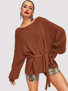 Balloon Sleeve Belted Sweater