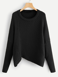 Asymmetric Hem Rib Knit Sweater