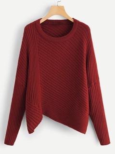 Asymmetric Hem Rib Knit Sweater