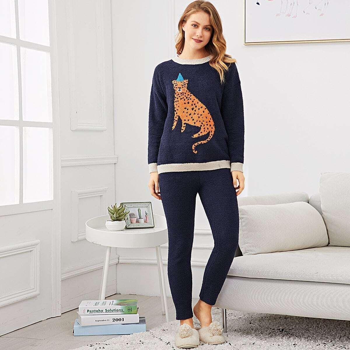 Leopard Pattern Plush Pajama Set