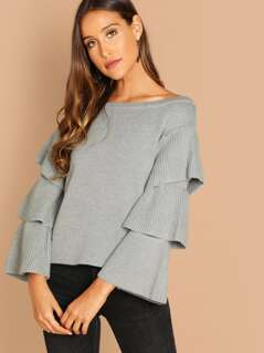 Boat Neck Tiered Ruffle Sleeve Pullover Sweater