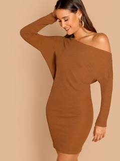 Loose Fit Off Shoulder Rib Knit Long Sleeve Dress