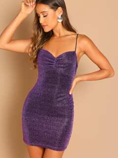 Shirred Front Glittered Cami Dress