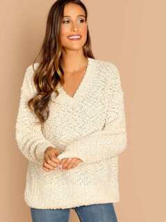 V-Neck Puffy Popcorn Knit Pullover Sweater