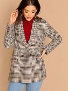 Double Breasted Flap Pocket Plaid Longline Blazer