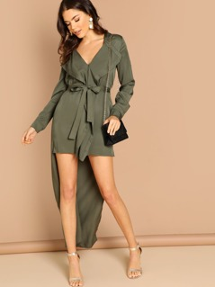 High Low Zip Front Belted Waist Long Sleeve Dress