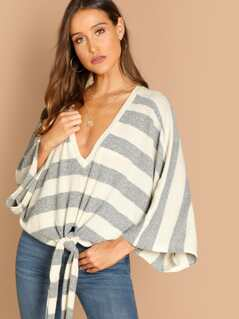 V-Neck Striped Knit Pullover Tie Front Top