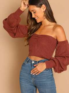 Off Shoulder Ruched Puff Sleeve Pullover Sweater