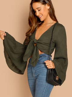 Tie Front Flared Long Sleeve Crop Top