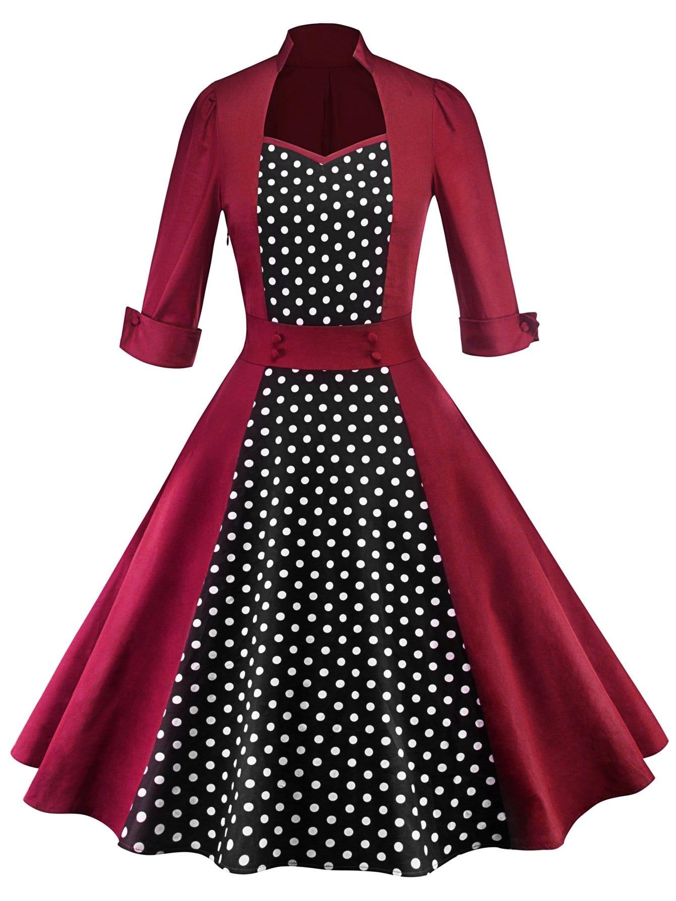 50s платье в горошек SheIn
