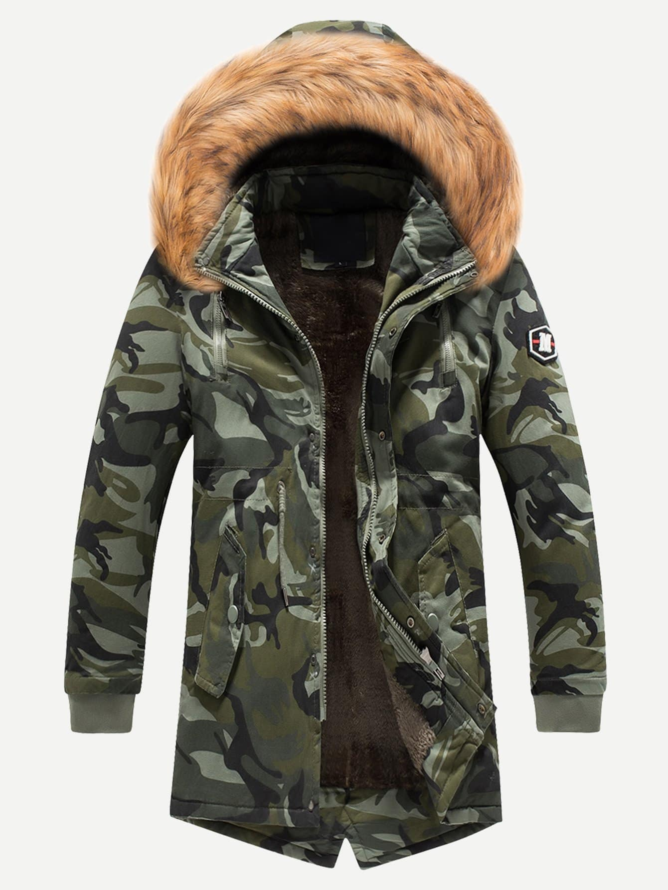 Купить Камуфляж с карманами Цвета хаки Мужские пальто и куртки, null, SheIn