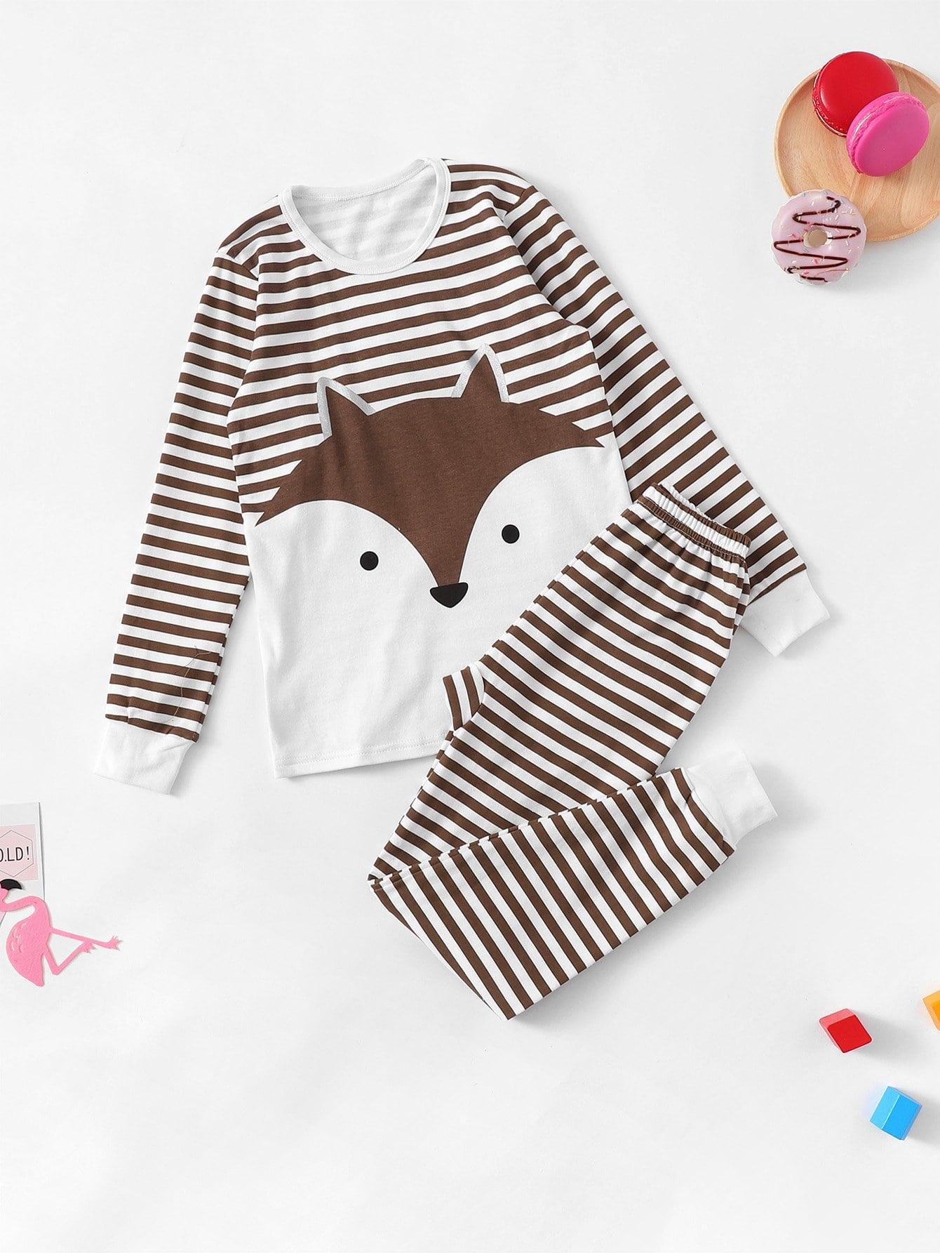 Полосатая пижама с принтом белочки для девочек от SheIn