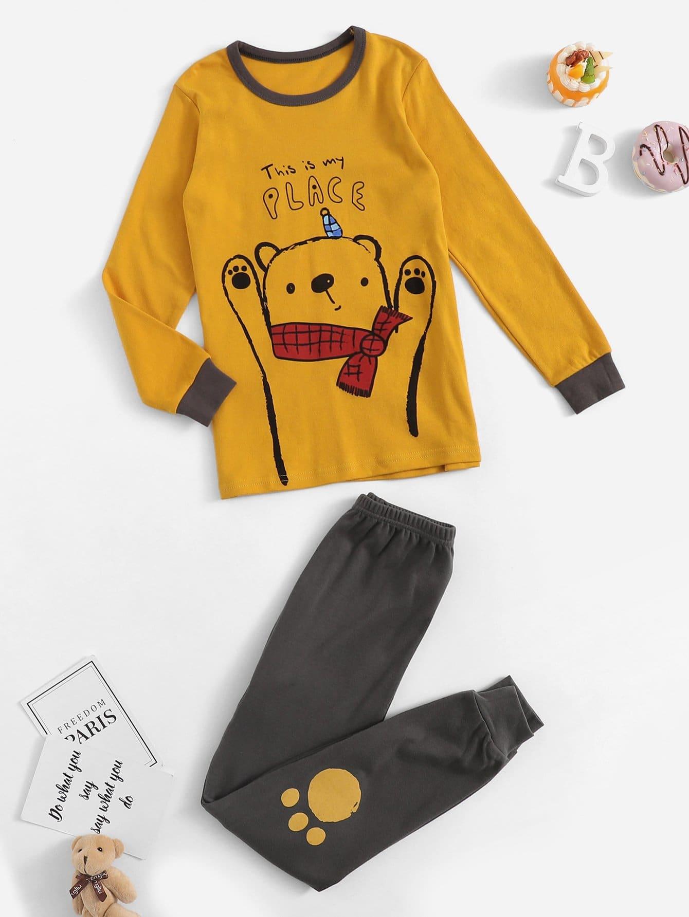 Пижама с принтом медведя и текстовым для девочек от SheIn