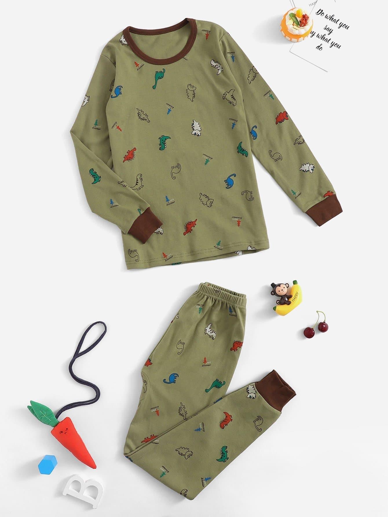 Пижама с принтом динозавра для девочек от SheIn