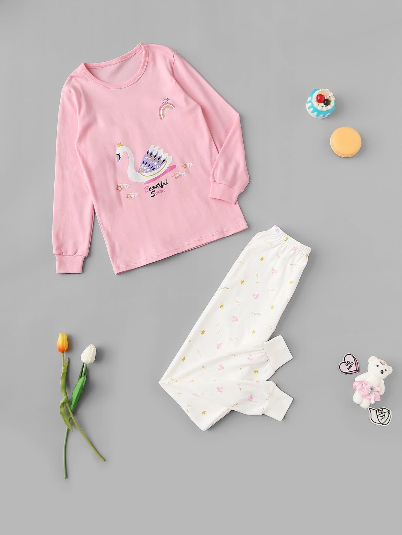 Пижама с принтом лебедя и короники для девочек от SheIn