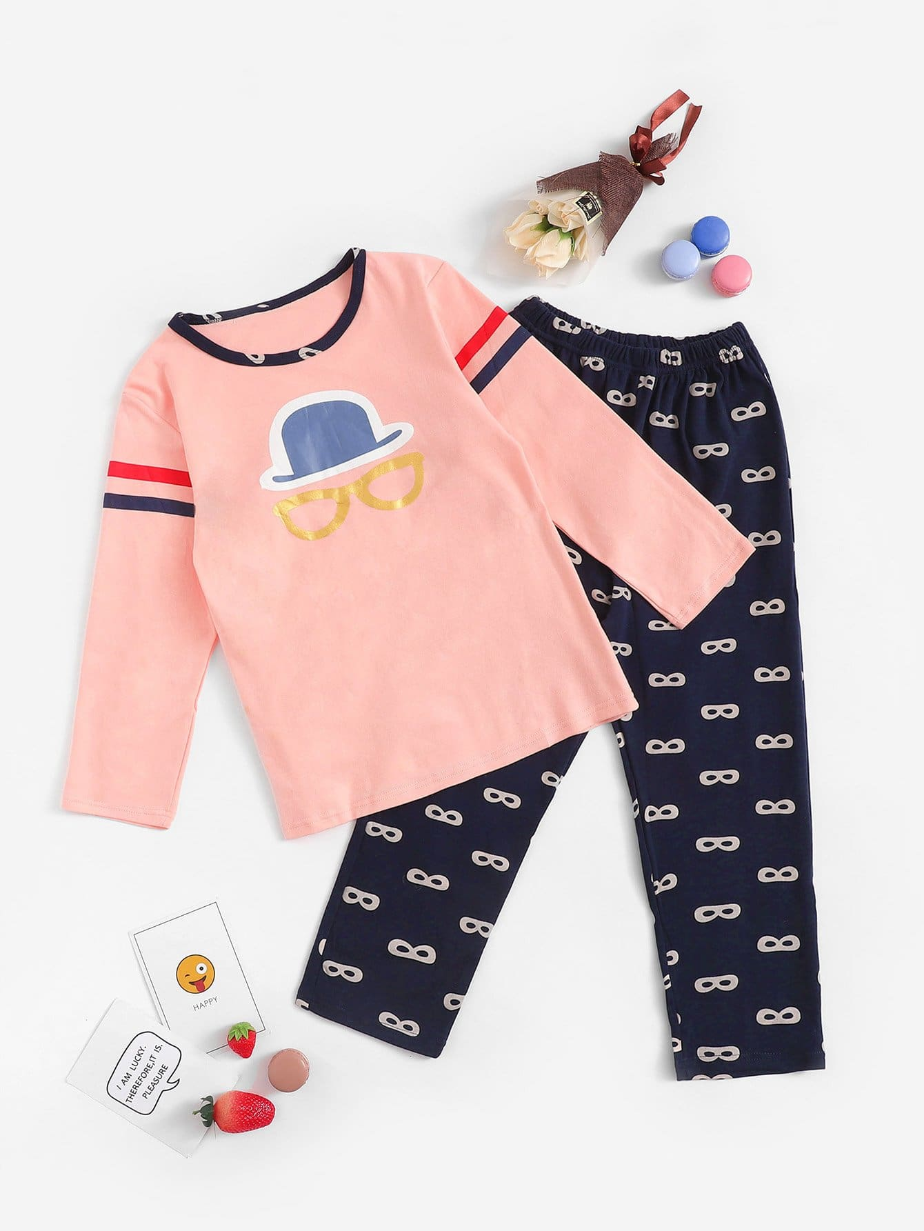 Контрастная пижама в полоску с принтом мультяшным для девочек от SheIn