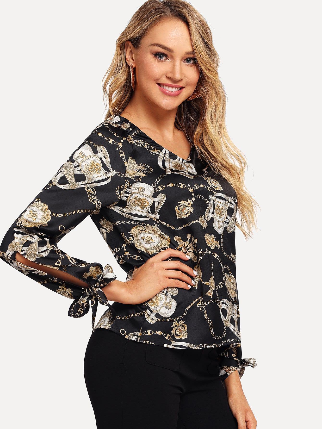 Купить Блуза с графическим принтом и бантом на рукавах, Sasa, SheIn