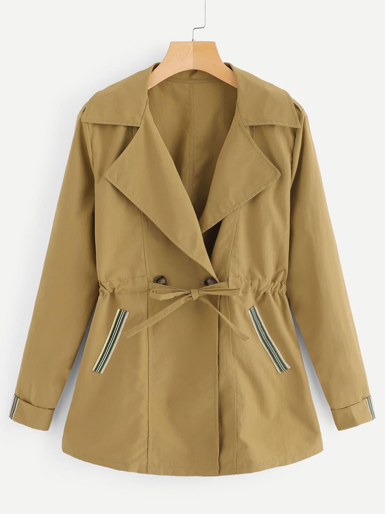 Купить Повседневный Одноцветный на пуговицах Хаки Жакеты + Куртки, null, SheIn