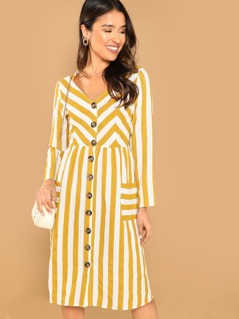 Pocket Front Button Up Striped Dress