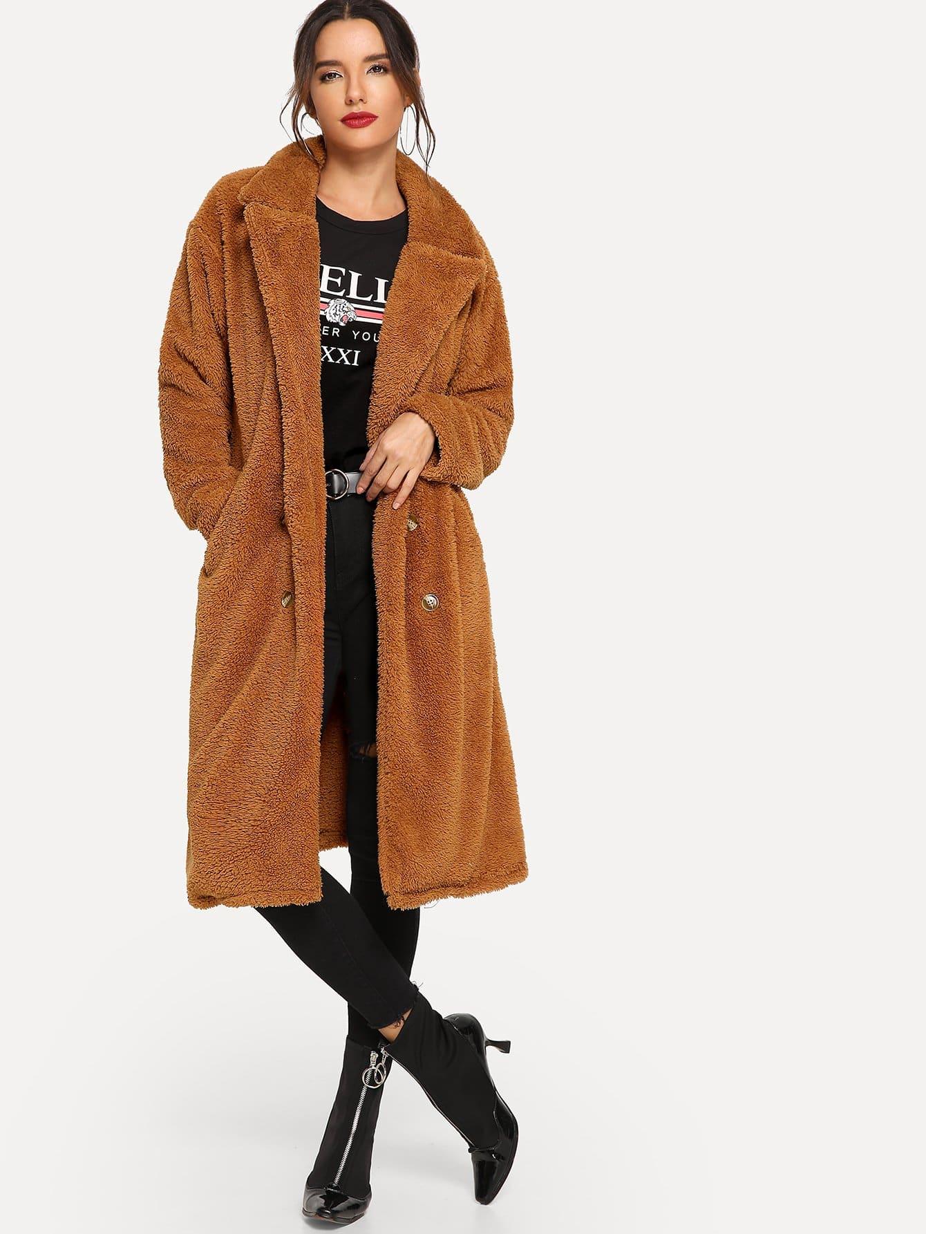 Купить Повседневный стиль Одноцветный пальто Желтовато бурый Пальто, Juliana, SheIn