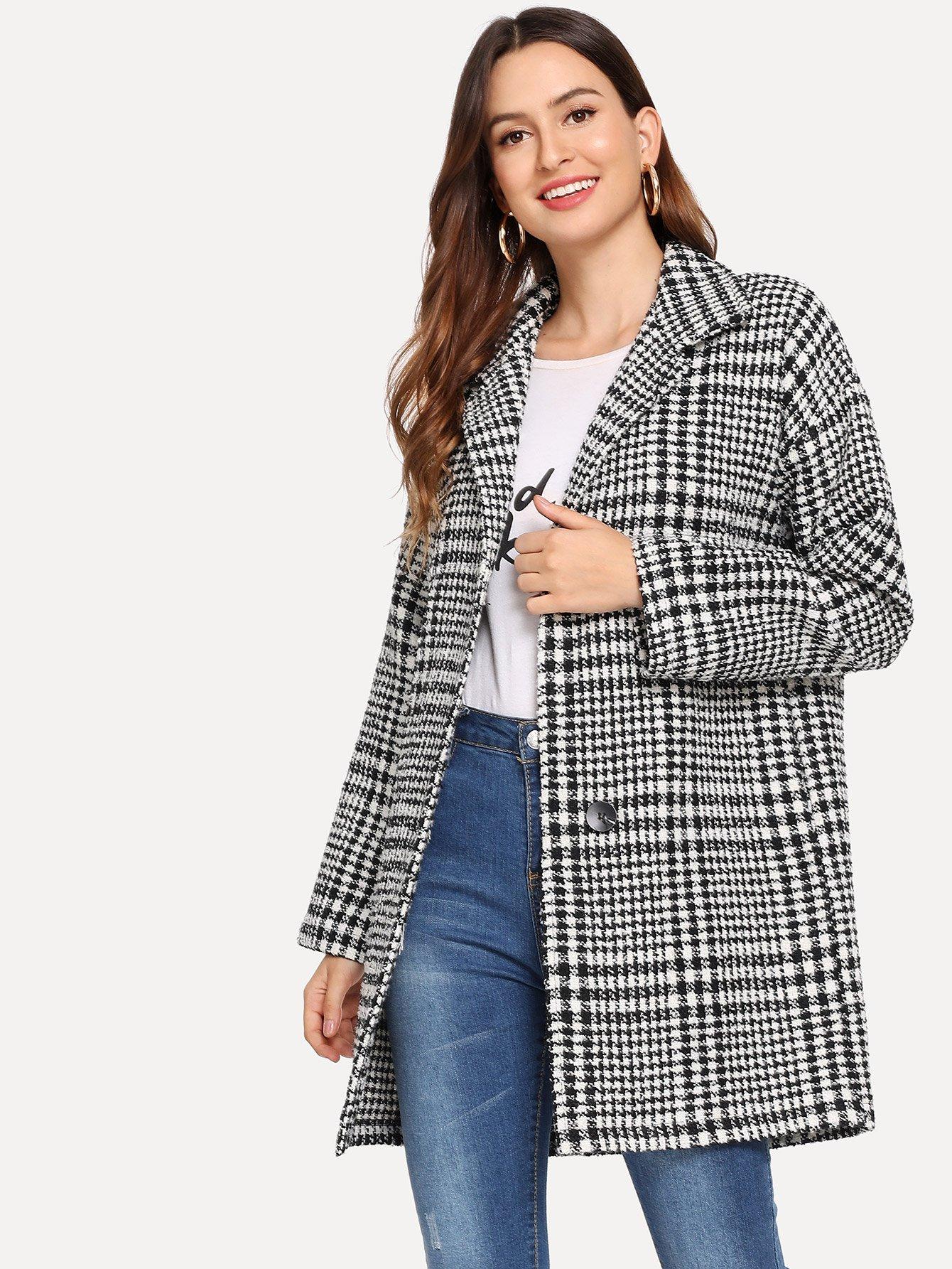 Повседневный стиль Ломаная клетка на пуговицах пальто Чёрнобелые Пальто SheIn