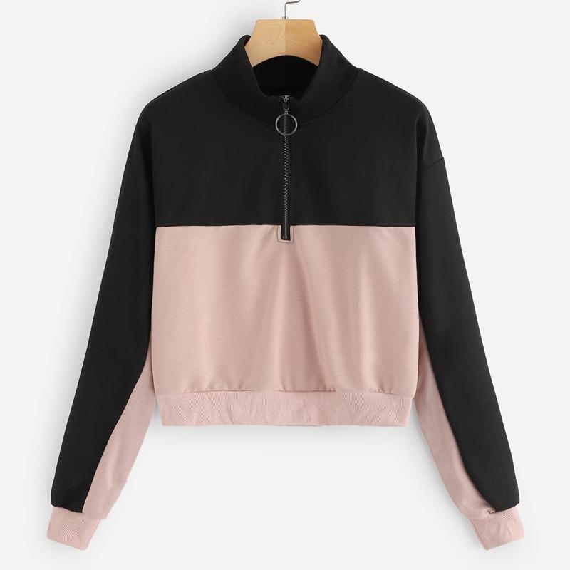 Contrast Panel Half Zip Sweatshirt, Multicolor