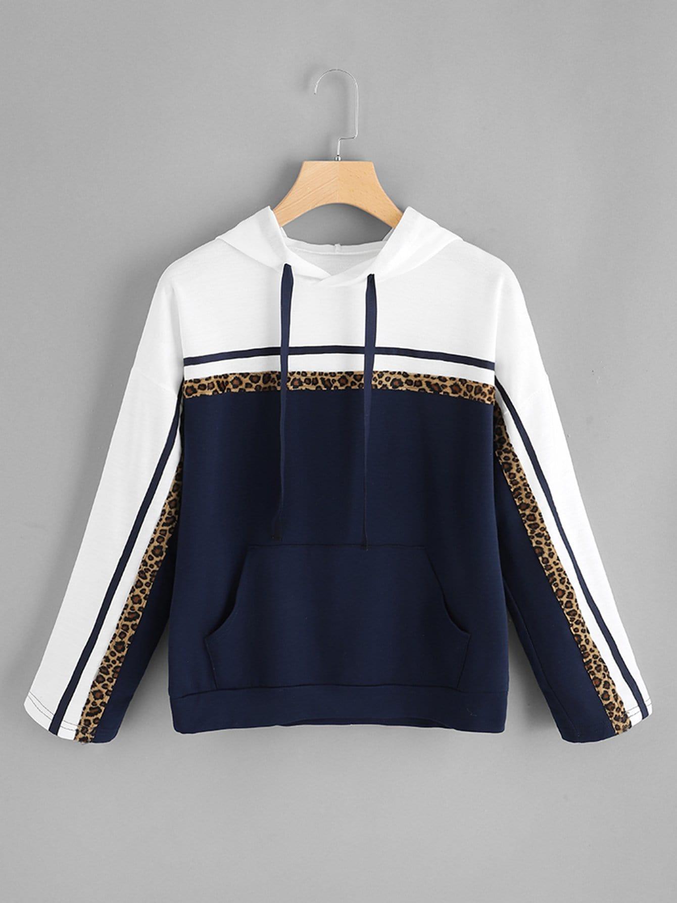 Купить Повседневный Леопард на кулиске Пуловеры Темно синий Свитшоты, null, SheIn