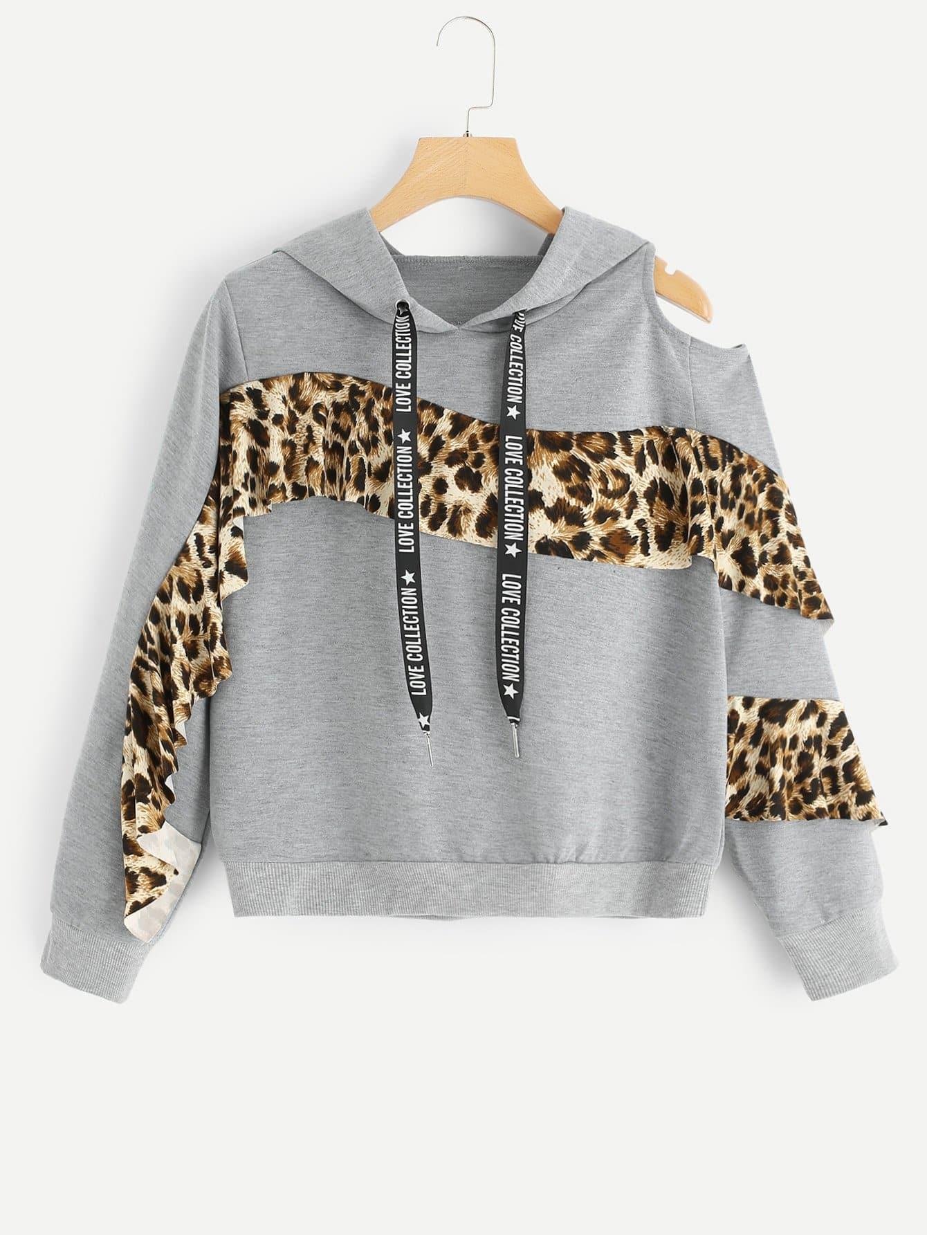 Купить Повседневный Леопард с разрезом Пуловеры Серый Свитшоты, null, SheIn